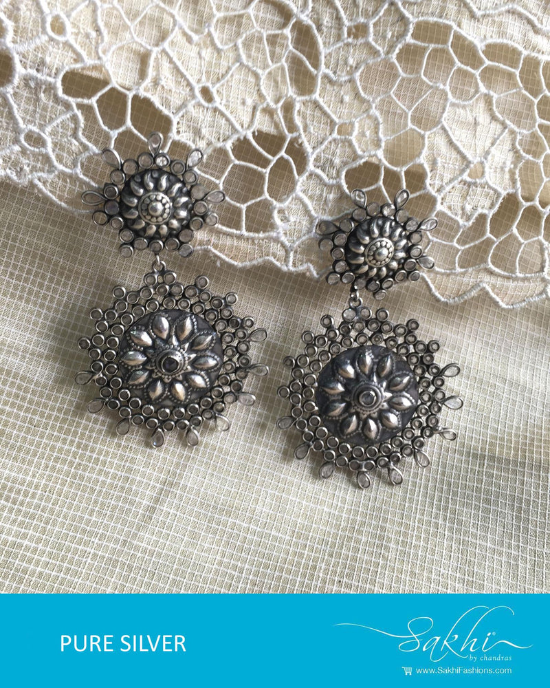 ASDQ-18145 - Silver & White Pure Silver Earrings