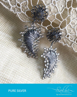ASDQ-18147 - Silver & White Pure Silver Earrings