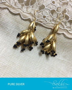 ASDQ-21447 - Gold Pure Silver Earrings
