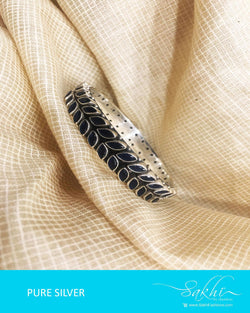 ASDQ-9994 - Blue & Antique Pure Silver Bangle