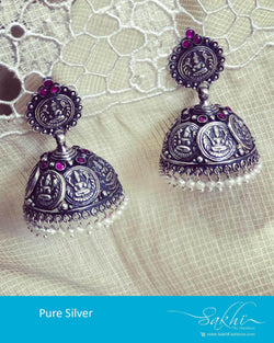 ASDR-24590 - Silver &  Pure Silver Earring
