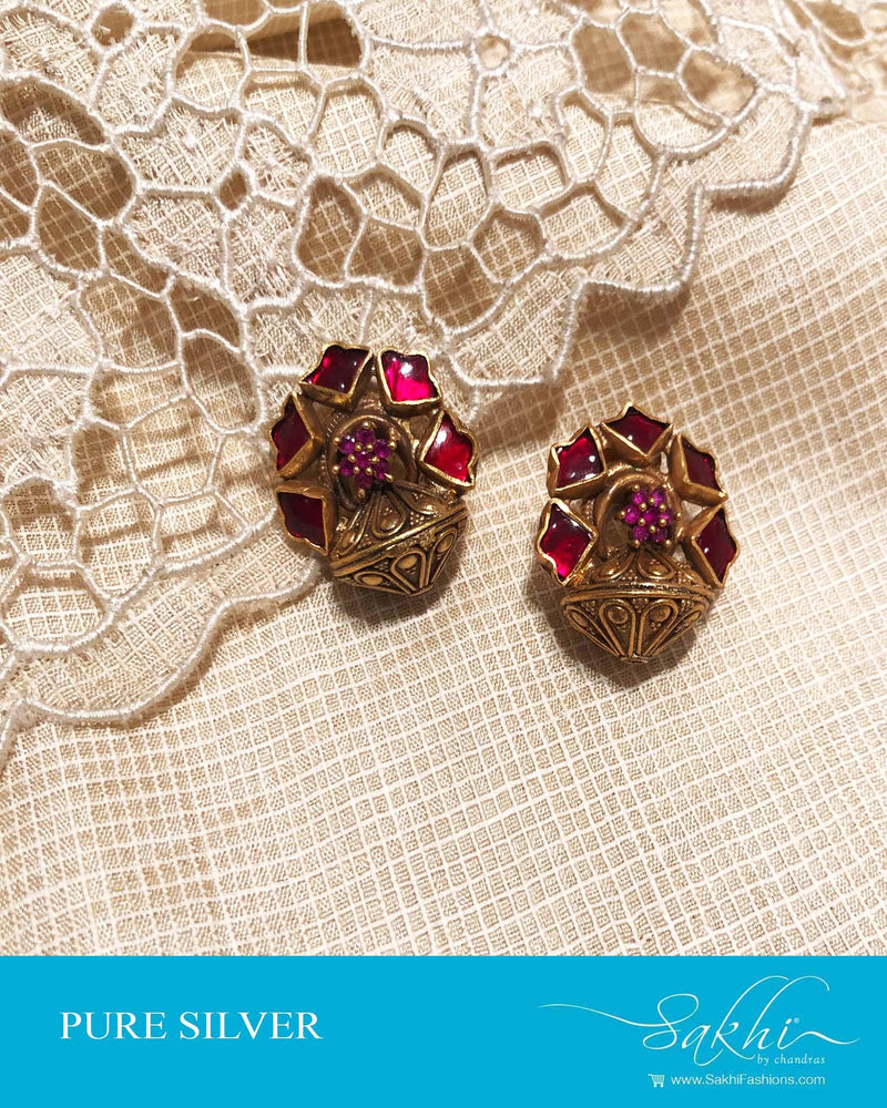 ASDS-0505 - Gold & Pink Pure Silver  Earring