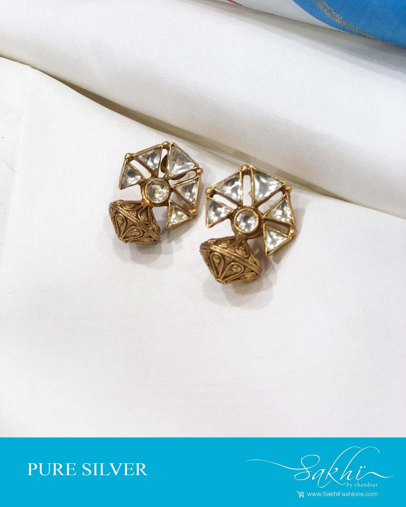 ASDS-0508 - Gold & White Pure Silver  Earring