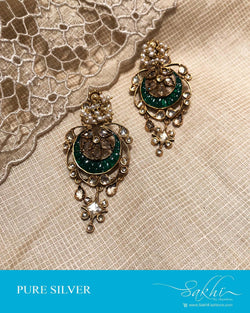 ASDS-0517 - Gold & Green Pure Silver  Earring