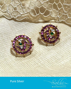 ASDS-10375 - Gold & Pearl pure Silver  Earring