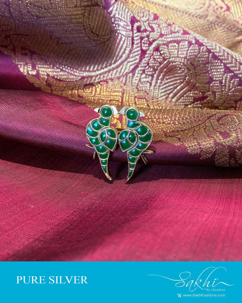 ASDS-201201 - Green,Gold &  Pure Silver Finger Ring