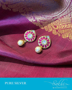 ASDS-201204 - Gold,Pink &  Pure Silver Earrings