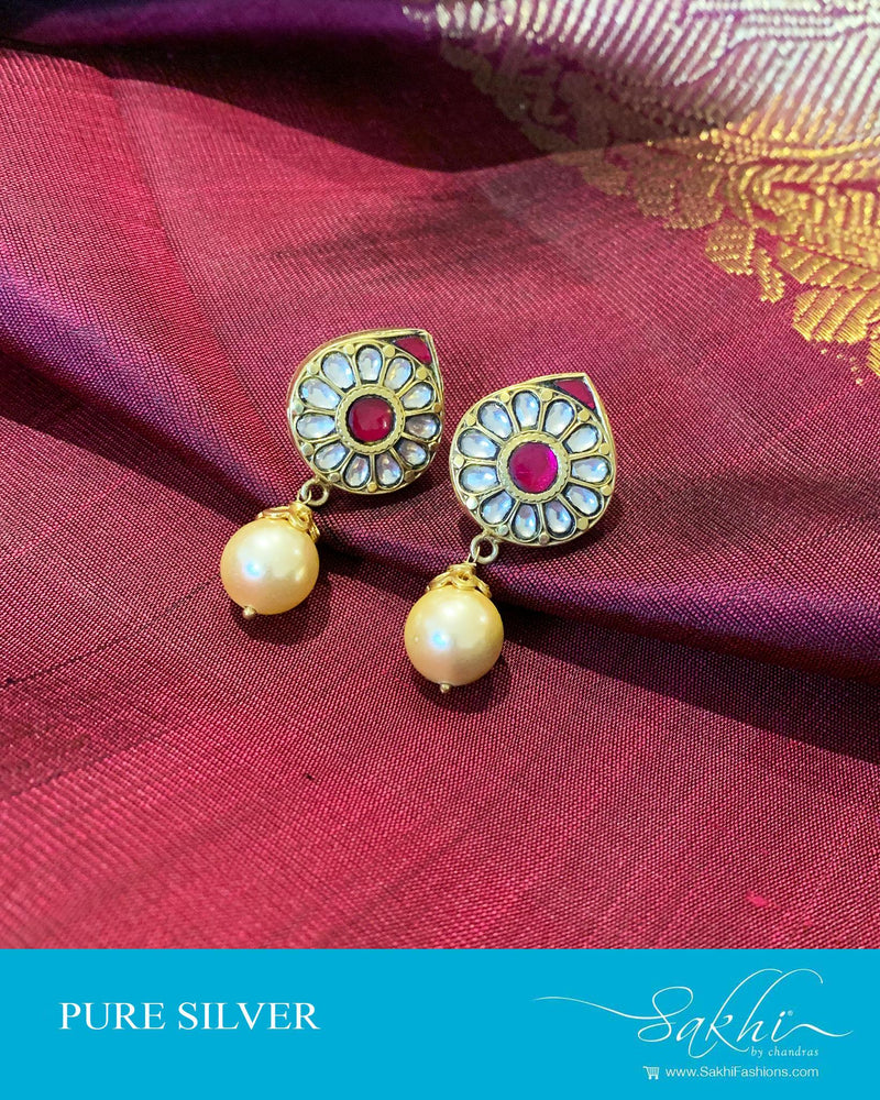 ASDS-201206 - Gold,Pink &  Pure Silver Earrings