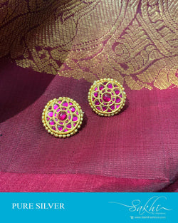 ASDS-201217 - Gold,Pink &  Pure Silver Earrings