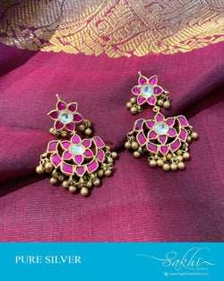 ASDS-201218 - Gold,Pink &  Pure Silver Earrings