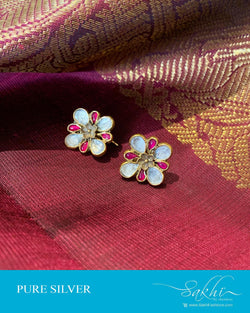 ASDS-201225 - White,Pink &  Pure Silver Earrings