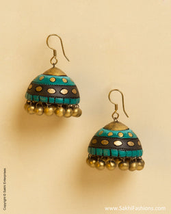 AT-0043 Green & Black Terracotta Jhumka