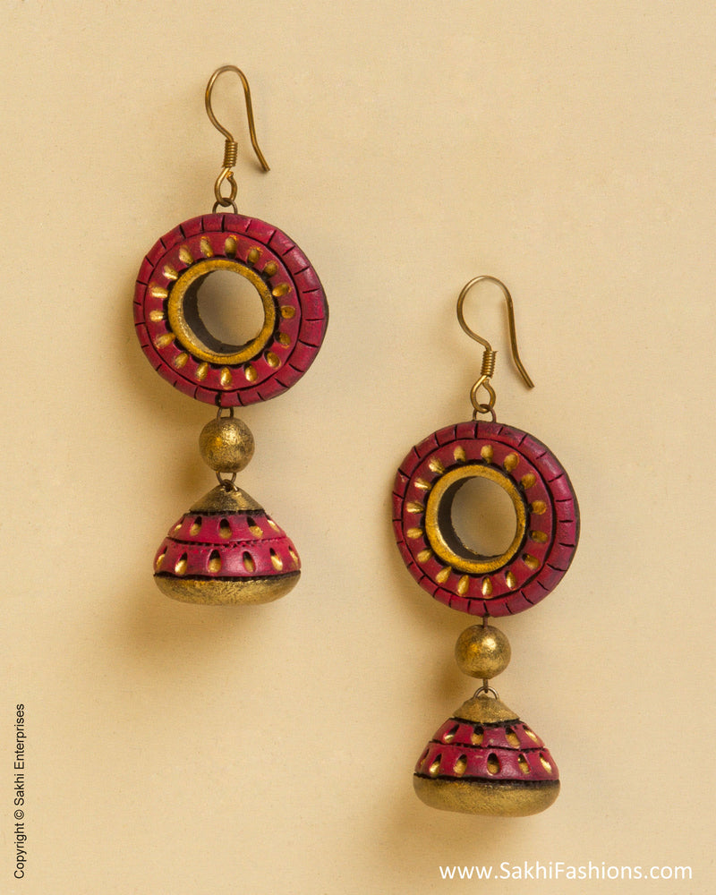 AT-0046 Pink & Gold Terracotta Jhumka