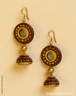 AT-0047 Brown & Gold Terracotta Jhumka