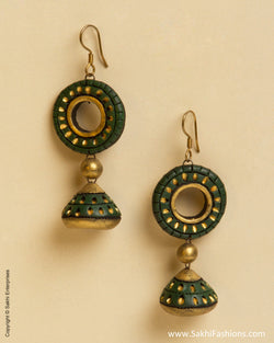 AT-0048 Green & Gold Terracotta Jhumka