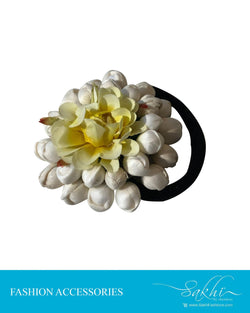 AX-002 - White  & Yellow Faux Hair Cilp