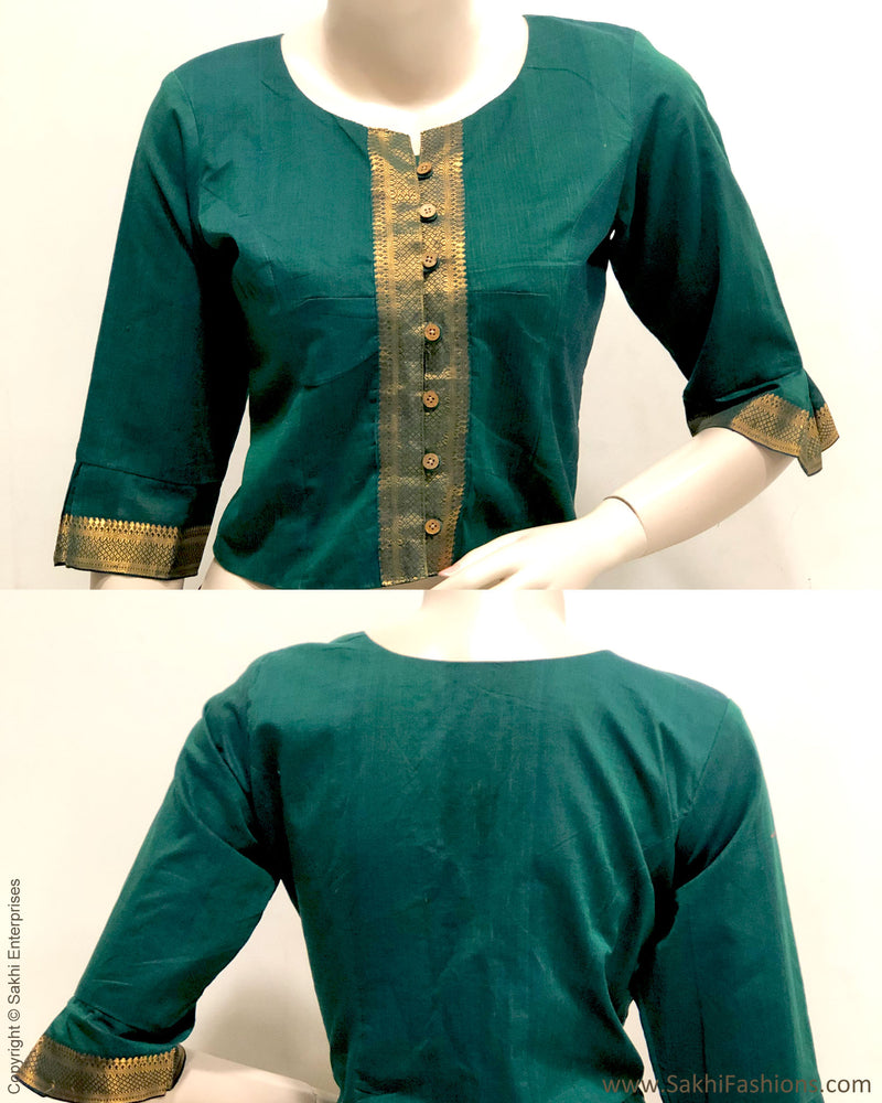 BL-R27141 - Green  Pure Cotton Blouse
