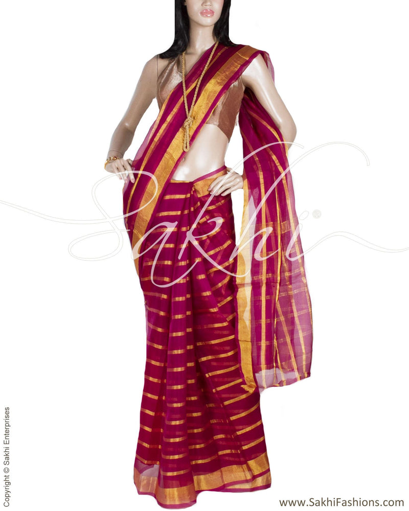 BGP-20200 - Purple & Gold Pure Kora Silk Saree