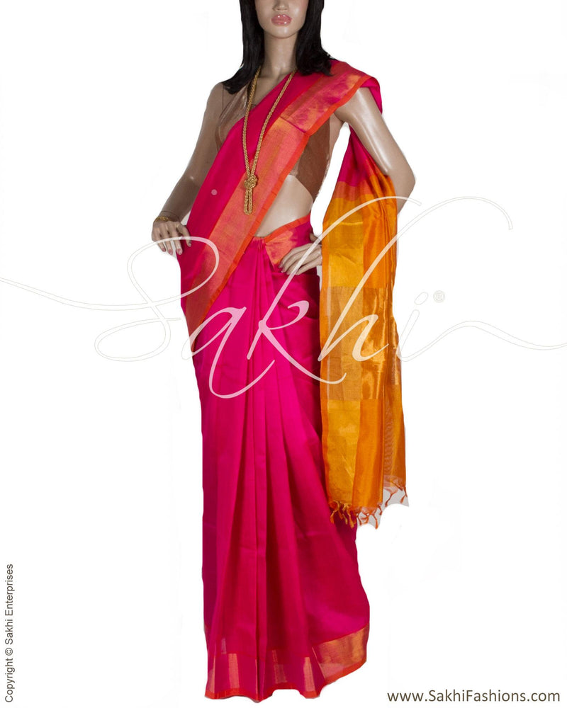 BGP-24723 - Pink & Yellow Silk & Cotton Saree