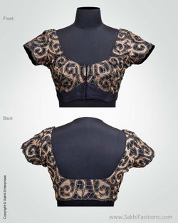 BL-0020 Black and Antique Cut Work Blouse
