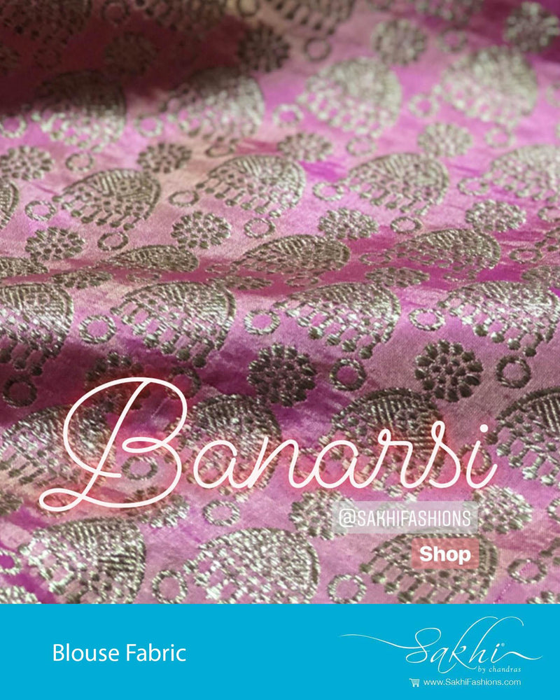 BL-R20681 - Peach &  Pure Banarsi silk Blouse Fabric