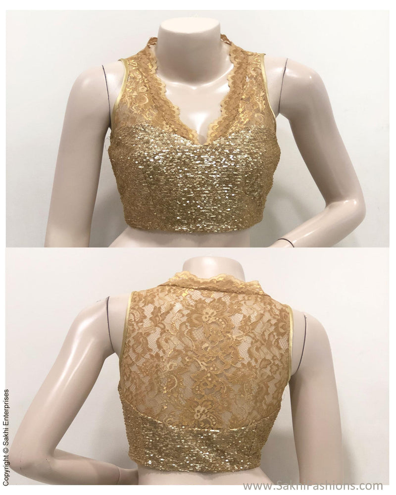 BL-S122705 - Champagne Gold Pure French Lace Indowestern Blouse