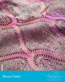 BL-S15782 - Peach &  Pure Banarasi Silk Fabric