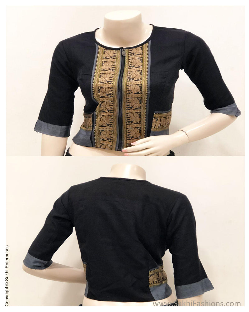 BL-S15878 - Black Cotton Blouse