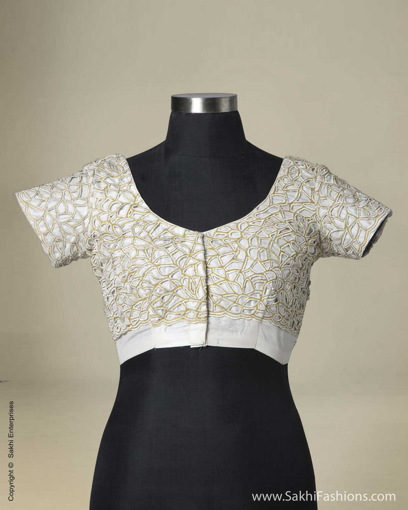 BL-0001 Cream Cut Work Blouse Fabric