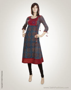 Grey  & Maroon Cotton Kurti