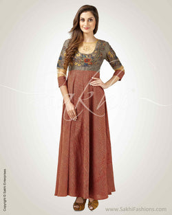 CDP-24135 - Maroon & Grey Pure Cotton Kurtha