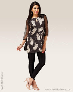 CDP-5356 - Black & cream Silk & Cotton Top