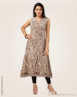 CDP-5391 - Black & beige pure Cotton Kurthi