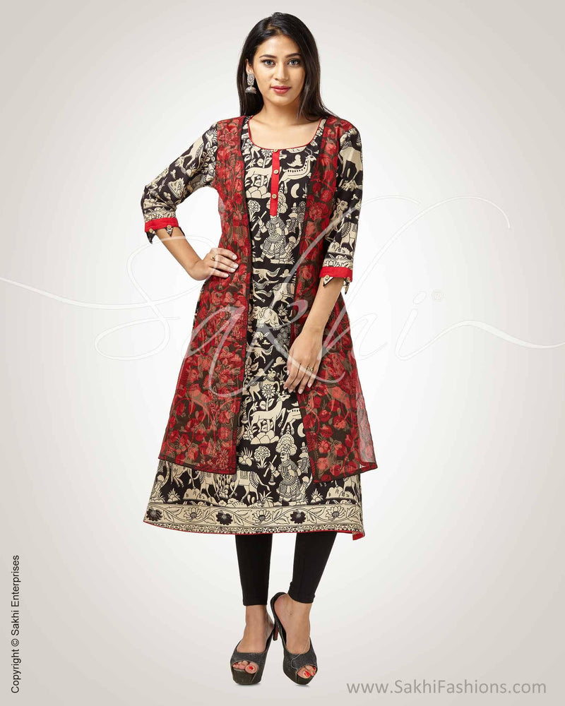 CDQ-9188 - Black & Red Pure Cotton Kurtha