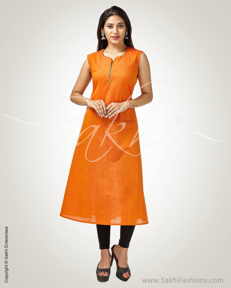 CDQ-9189 - Orange & Black Pure Cotton Kurtha