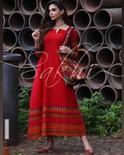 CDR-22992 - Red &  Pure Cotton Indowestern