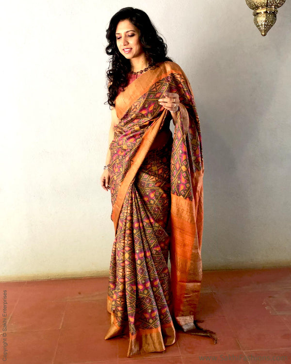 EE-S21892 - Brown & Orange pure Tussar silk saree