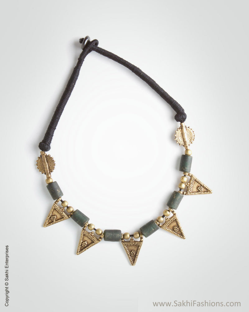 AJ-0150 Black & Antique Gold Mix Metal Mala