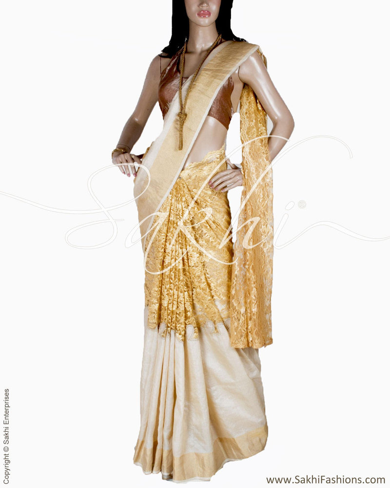 DPQ-23900 - Beige & Gold pure Tussar silk saree