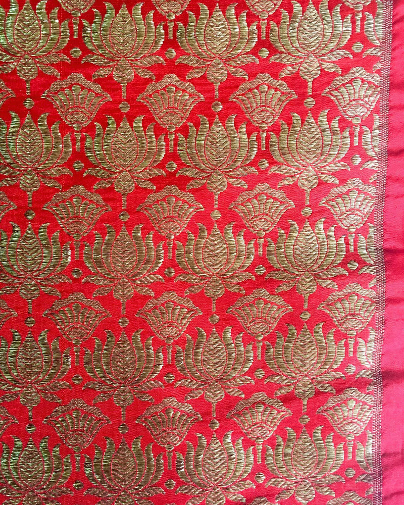 BLP-3734 - Red & Gold Brocade Un-Stitched Blouse Fabric