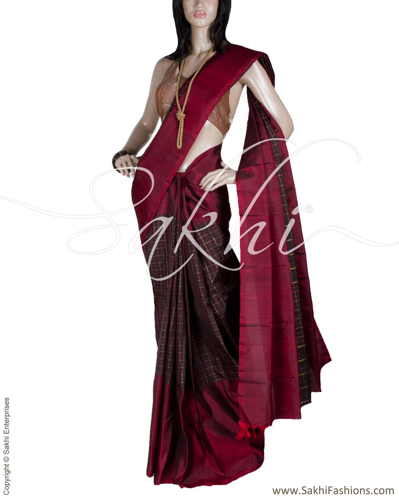 DPQ-14552 - Maroon & Black Pure Kanchipuram Silk Saree