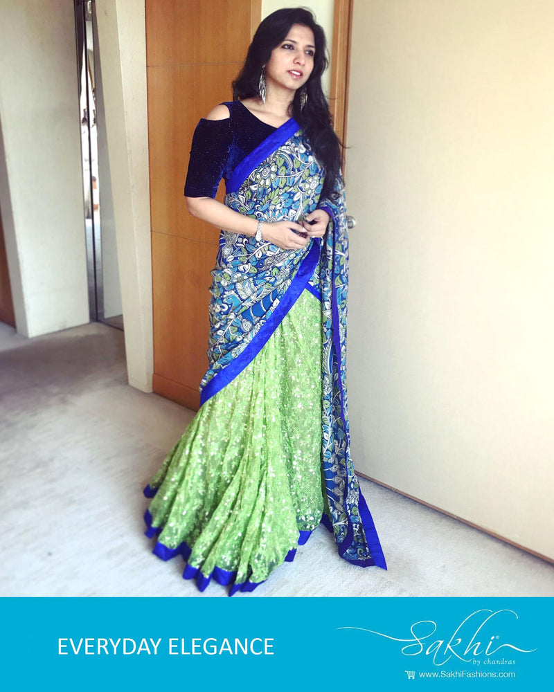 DPQ-21294 - Blue & green Silk & Cotton saree