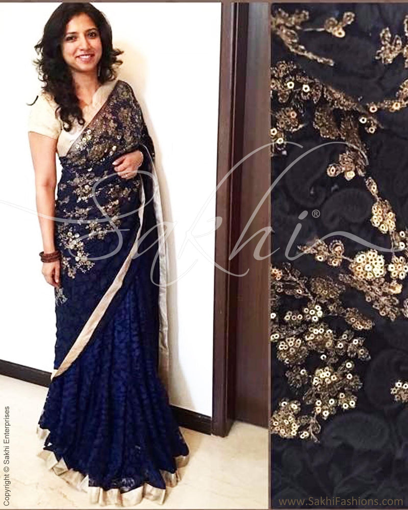 DPQ-2489 - Blue  & Gold Synthetic Lace Saree