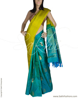 DPQ-7577 - Green & Pink Pure Kanchivaram Silk Saree