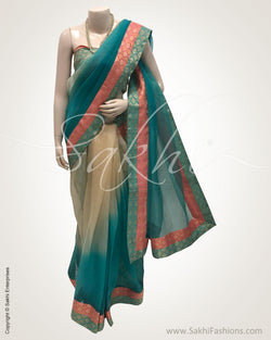 DPR-13160 - Blue pure Organza silk saree