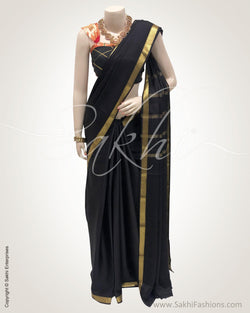 DPR-19444 - Black Crepe silk saree