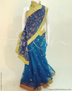 DPR-8358 - Blue & multi Faux Net saree