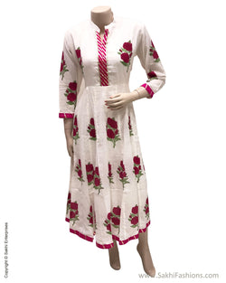 DPS-11923 - Cream &  Pure Cotton Dress