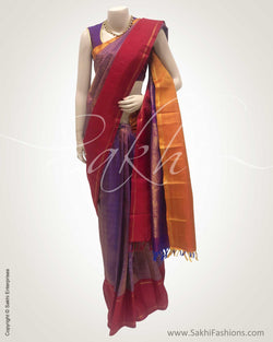 DPS-12414 - Purple  & Multi Pure Kanchivaram Silk Saree