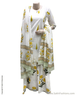 DPS-17401 - Cream &  Pure Cotton Dress